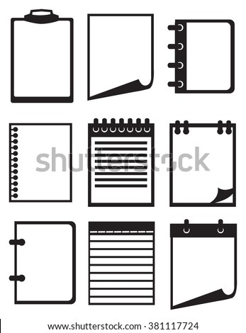 Set of nine vector icon illustration of paper and notebook isolated on white background. - stock vector