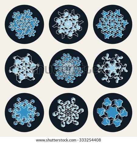 Set of Nine Vector Line Art Stroke Offset Geometric Blue Snowflake Shape Decorative Design Elements - stock vector