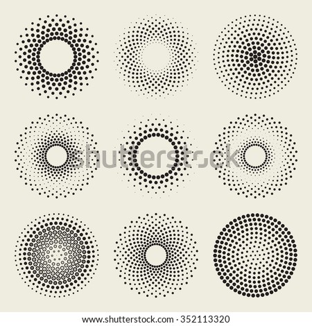 Set of Nine Vector Radial Gradient Halftone Sunburst Circle Shape Stippling Abstract Design Elements - stock vector