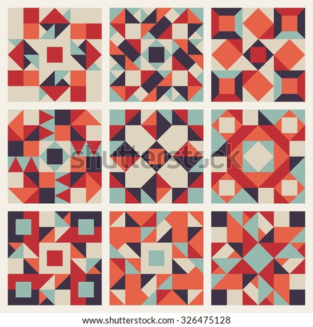Set of Nine Vector Seamless Blue Red Orange Retro Geometric Ethnic Square Quilt Pattern Collection Background Elements - stock vector