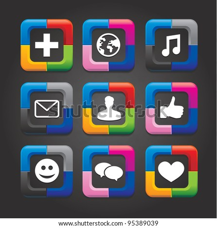 set of nine vector social media buttons on black background - stock vector
