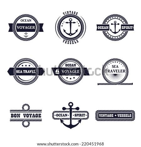Set of nine vintage marine stamps isolated on white. Vector retro nautical anchor badges. Ocean graphic logo. Rope design borders. Travel emblem. Sailor symbol. Sea cruise illustration.  - stock vector