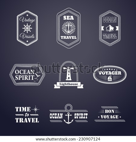 Set of nine vintage marine stamps isolated. Vector retro nautical anchor badges. Ocean graphic logo. Rope design borders. Travel emblem. Sailor symbol. Sea cruise illustration. - stock vector