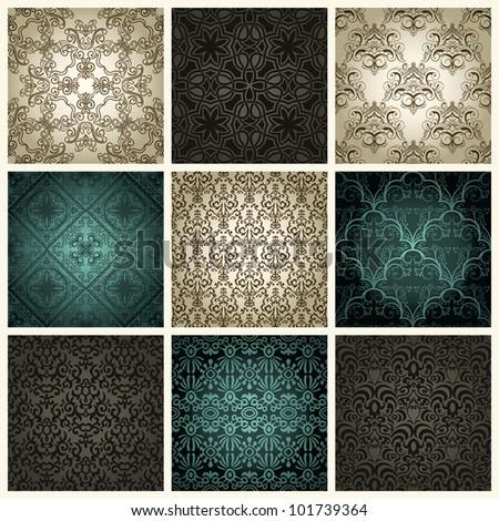Set of nine  vintage seamless patterns - stock vector