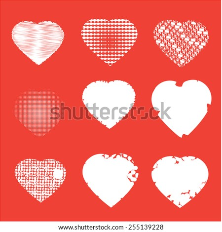 Set of nine white hearts on red background, vector illustration   - stock vector