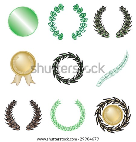 Set of nine wreaths and medallions - stock vector
