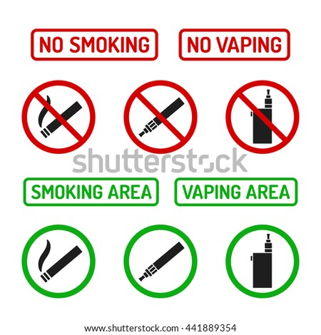 Set of No Smoking and Smoking Area symbols. Cigarettes and vaporizers (electronic cigarettes), text signs. - stock vector