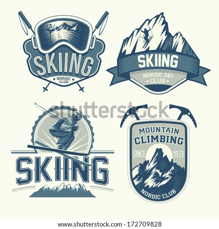 Set of nordic skiing and mountaineering badges - stock vector