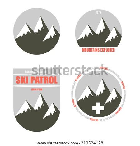 Set of nordic skiing badges - stock vector