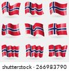 Set of Norway flags in the air. Vector illustration - stock vector