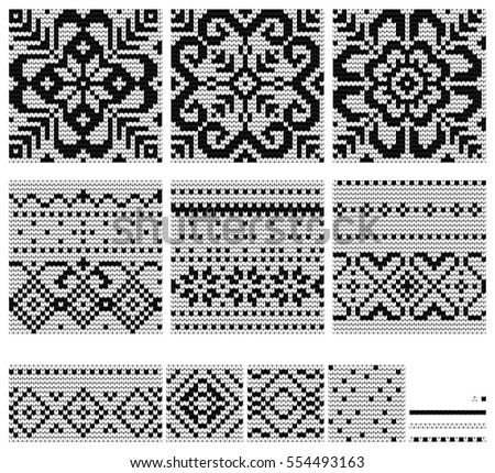 Set Norwegian Star Knitting Patterns Vector Stock Vector 554493163