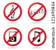 "Set of ""not allowed music"" symbols, illustration - stock photo"