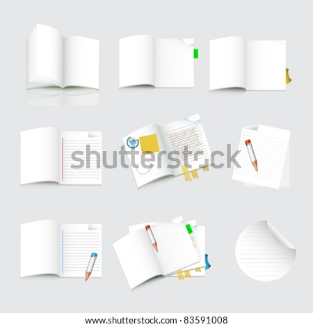 set of note paper - stock vector