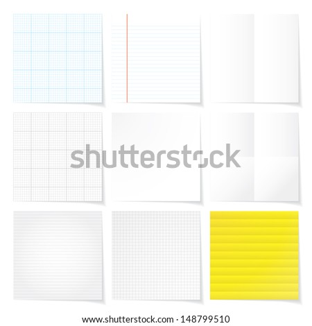 set of note paper background vector - stock vector