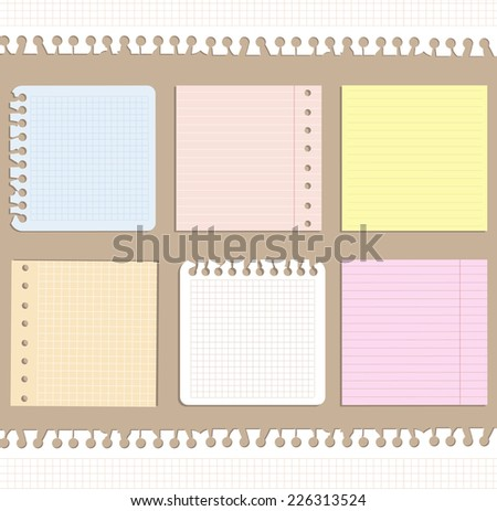 set of note papers of gentle colors  - stock vector