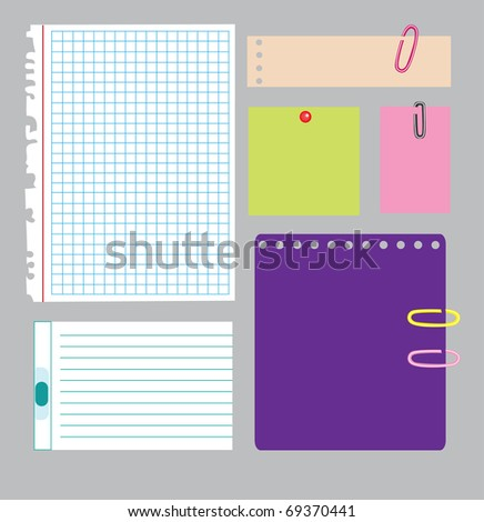 set of note papers. vector illustration
