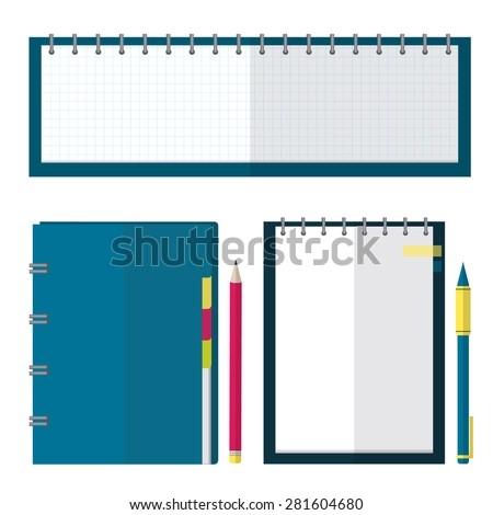 Set of notebook, organizer, planner  with pen and pencil.  Flat design style illustration. - stock vector