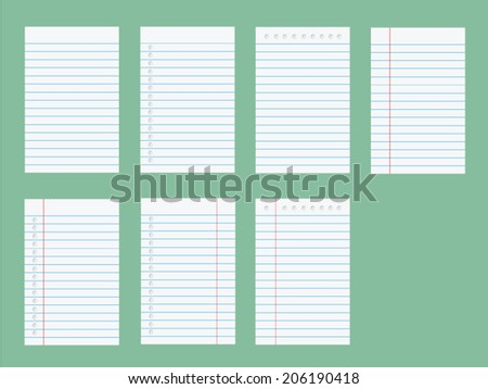 Set of notebook paper. Illustration on white background. - stock vector