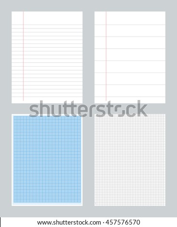 Set of notebook papers patterns with lines. millimeter - ruled -  squared  - stock vector