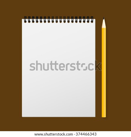 Set of notepad and a pencil for learning, on a white background.