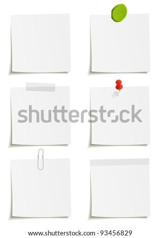 Set of notes: clip, scotch tape, plasticine, sticker, pin attachment - stock vector
