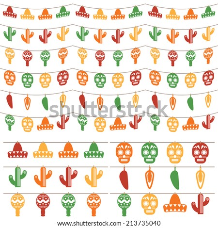 set of novelty mexican themed hanging bunting decorations, isolated on white - stock vector