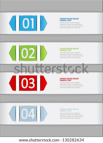 set of numbered paper banners - stock vector