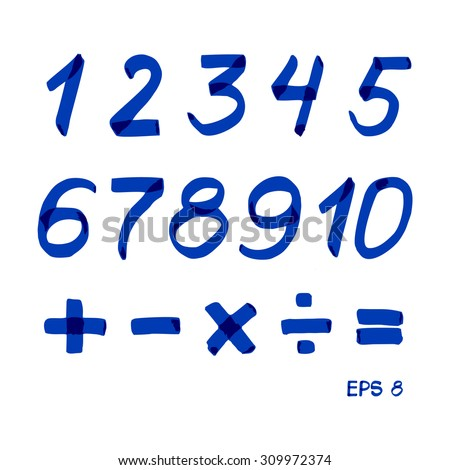 Set of numbers and mathematical signs. Blue marker.. Vector 8 - stock vector