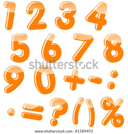 Set of numbers and punctuation marks. Vector. 10 EPS.