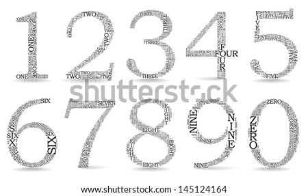 Set of numbers, each created from text tittles - illustration - stock vector