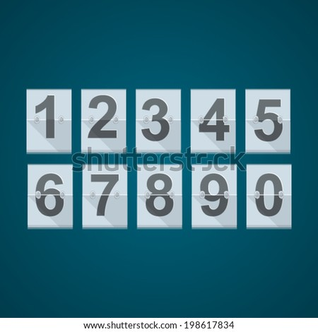 Set of numbers for mechanical scoreboard. Set of vector numbers for mechanical basketball or others scoreboard on blue background.