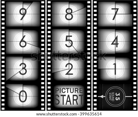 Set of numbers from old movie count down (from nine to zero) - stock vector