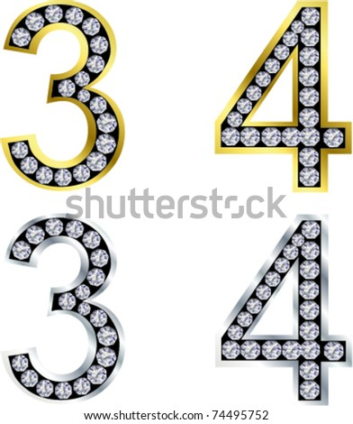 Set of numbers, golden and silver with diamonds, vector
