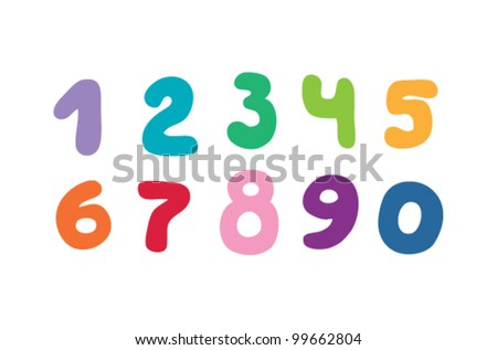 set of numbers in different colors - stock vector