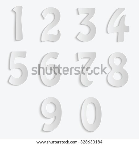 Set of numbers isolated on white background.The numbers for your design