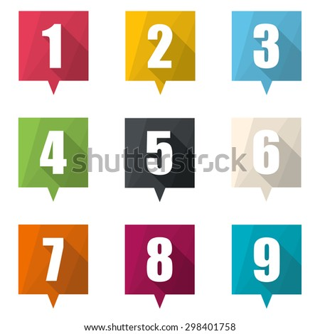 Set of numbers pin marker. Flat Icons with long shadow.