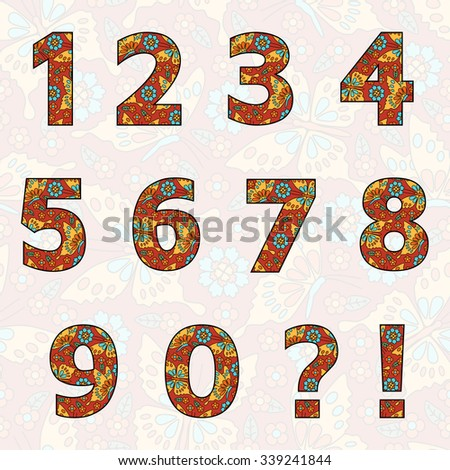 Set of numbers with flowers and butterflies (you can change all colors for your design). Good for invitations and birthday cards. Zero 0 One 1 Two 2 Three 3 Four 4 Five 5 Six 6 Seven 7 eight 8 nine 9. - stock vector