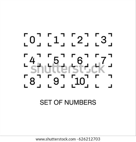 Set of numbers with focus frame on white background