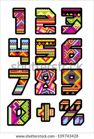 set of numbers with the design of a Mexican style - stock vector