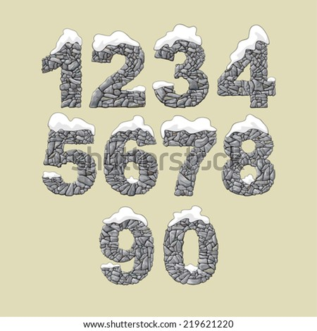 Set of numerals made of stone covered with snow. - stock vector