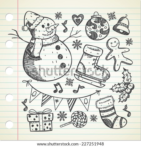 set of object related to Christmas  - stock vector
