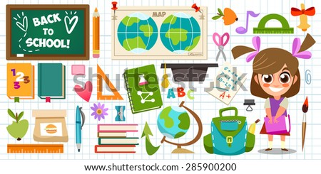Set of objects and character in a flat design on education. Schoolgirl, backpack, it's time for school, ruler, books, apple, education. Cute children's illustration in a vector. Back to School. - stock vector