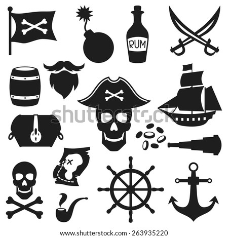 Set of objects and elements on pirate theme. - stock vector