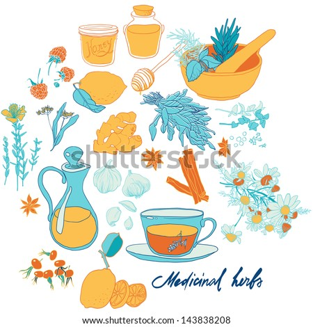 Set of objects and herbs to treat colds. - stock vector