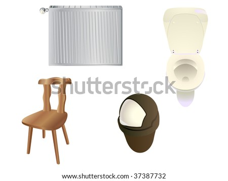 Set of objects commonly found in a modern house. Linear and radial gradients. - stock vector
