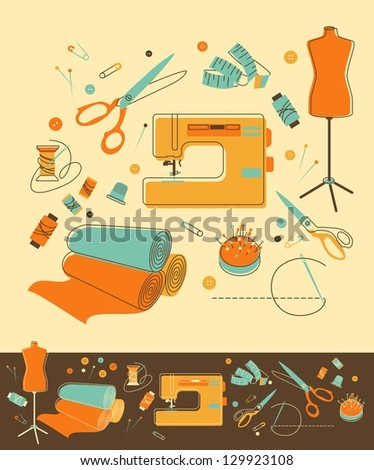 Set of objects for sewing in retro-style - stock vector