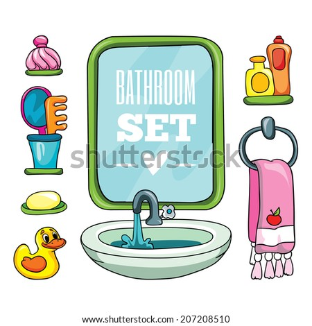set of objects for the bathroom, vector illustration on white background