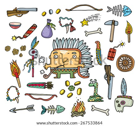 set of objects of life of American Indians. vector illustration