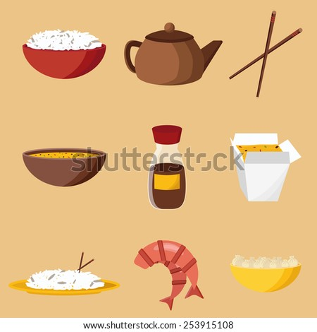 Set of objects on chinese cuisine theme for your design - stock vector