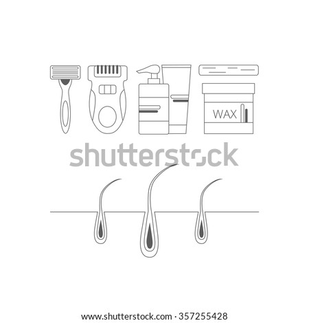 Set of objects on depilation themein linear style. Razor, epilator, wax and lotion illustrations.  - stock vector